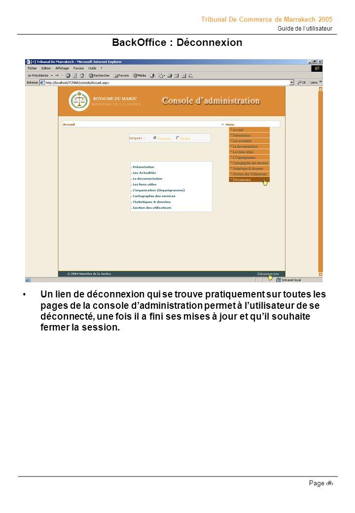 BackOffice : Déconnexion