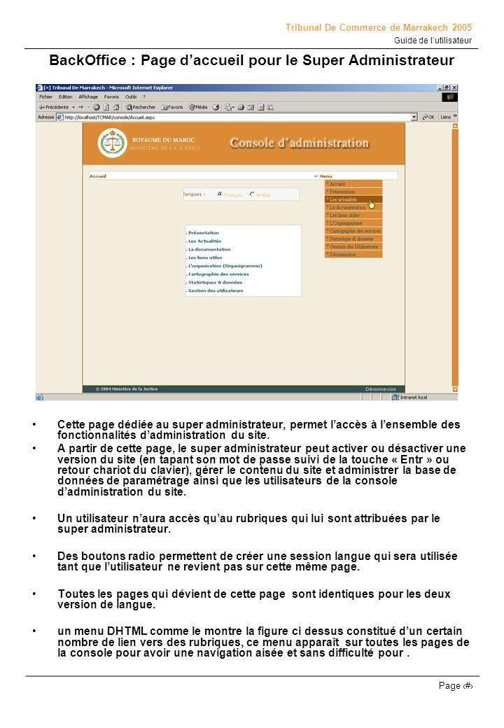 BackOffice : Page d'accueil pour le Super Administrateur