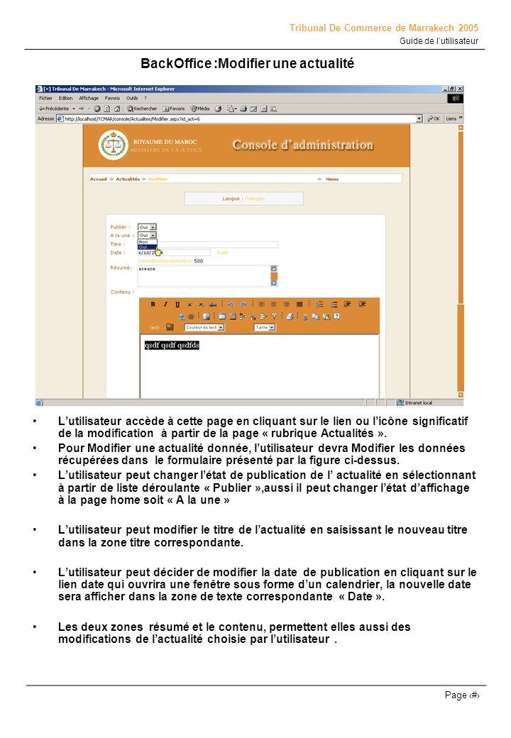 BackOffice :Modifier une actualité