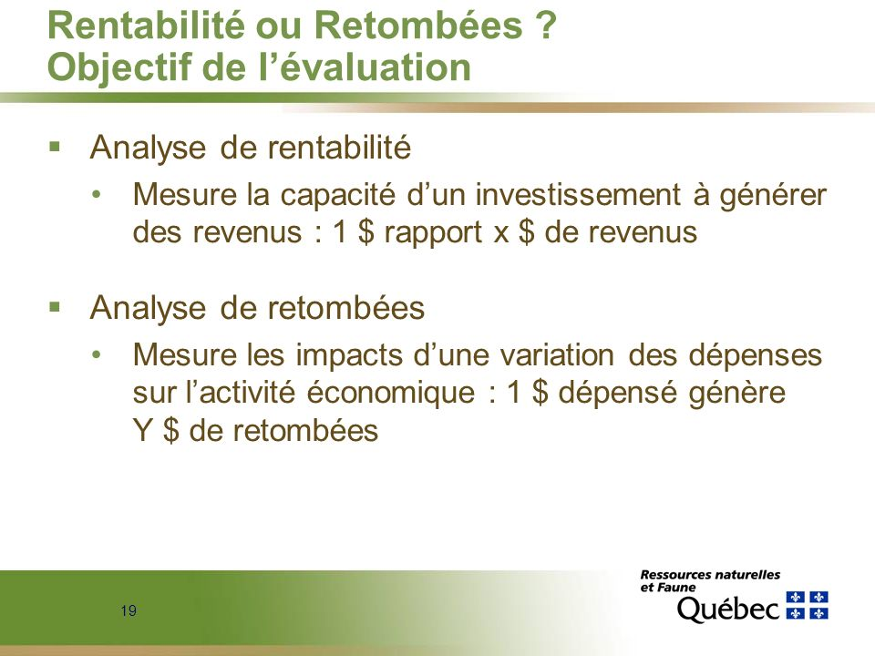 Rentabilité ou Retombées Objectif de l'évaluation