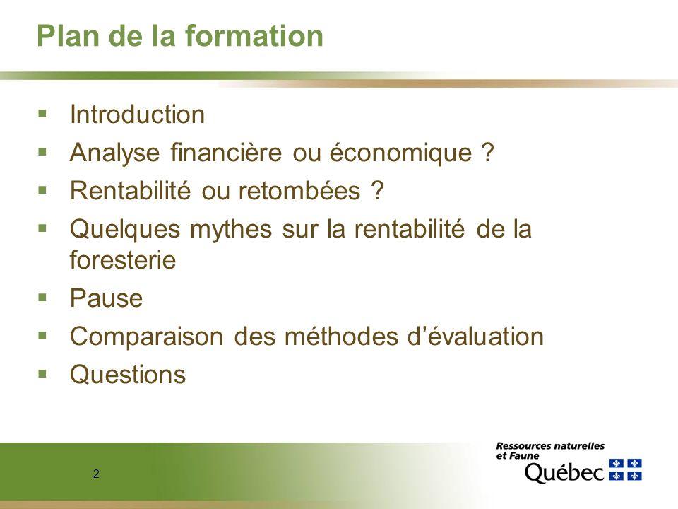 Plan de la formation Introduction Analyse financière ou économique