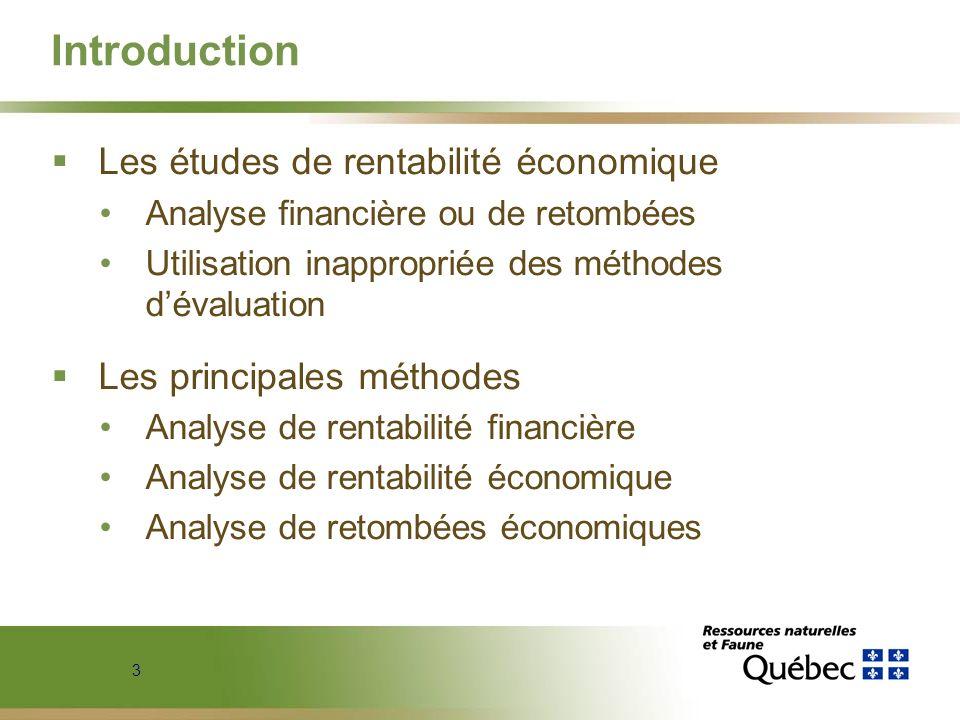 Introduction Les études de rentabilité économique
