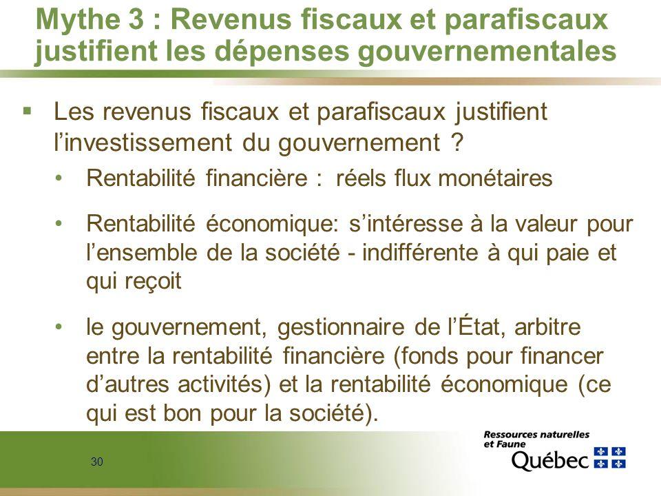 Mythe 3 : Revenus fiscaux et parafiscaux justifient les dépenses gouvernementales
