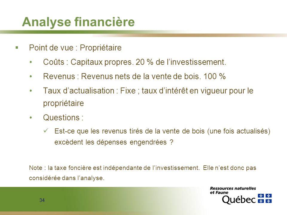 Analyse financière Point de vue : Propriétaire