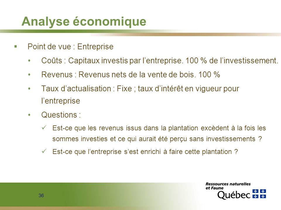 Analyse économique Point de vue : Entreprise