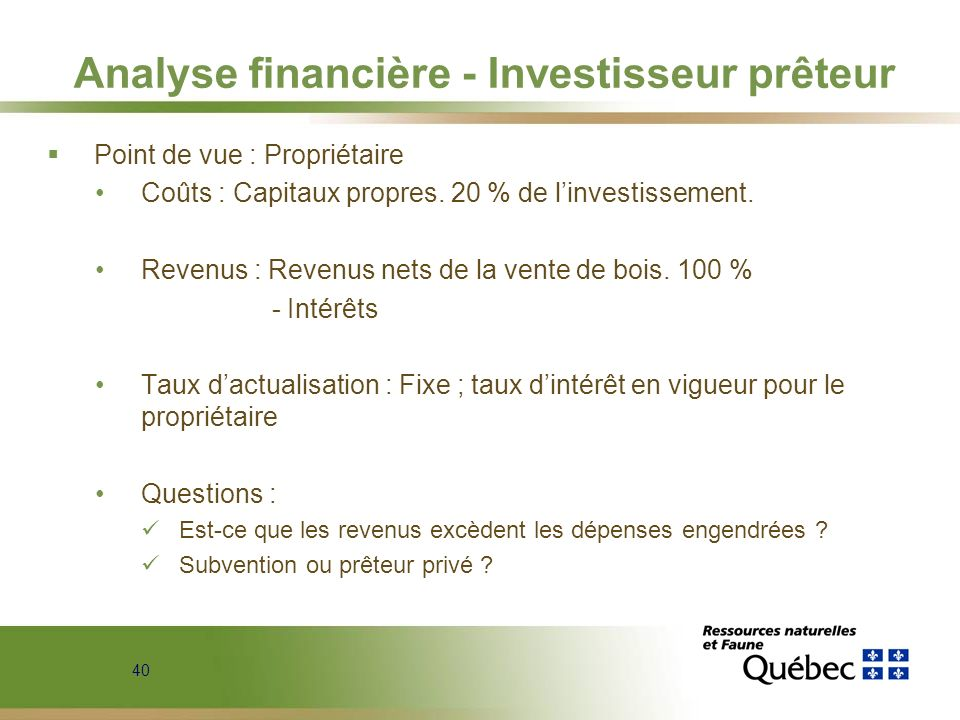 Analyse financière - Investisseur prêteur