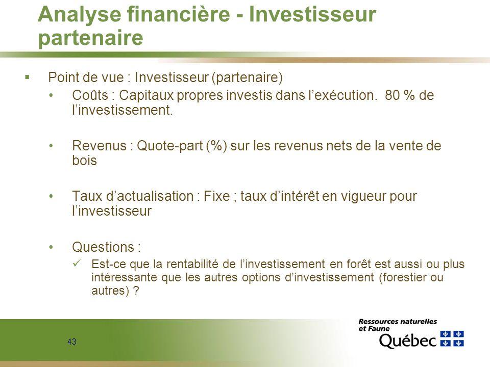 Analyse financière - Investisseur partenaire