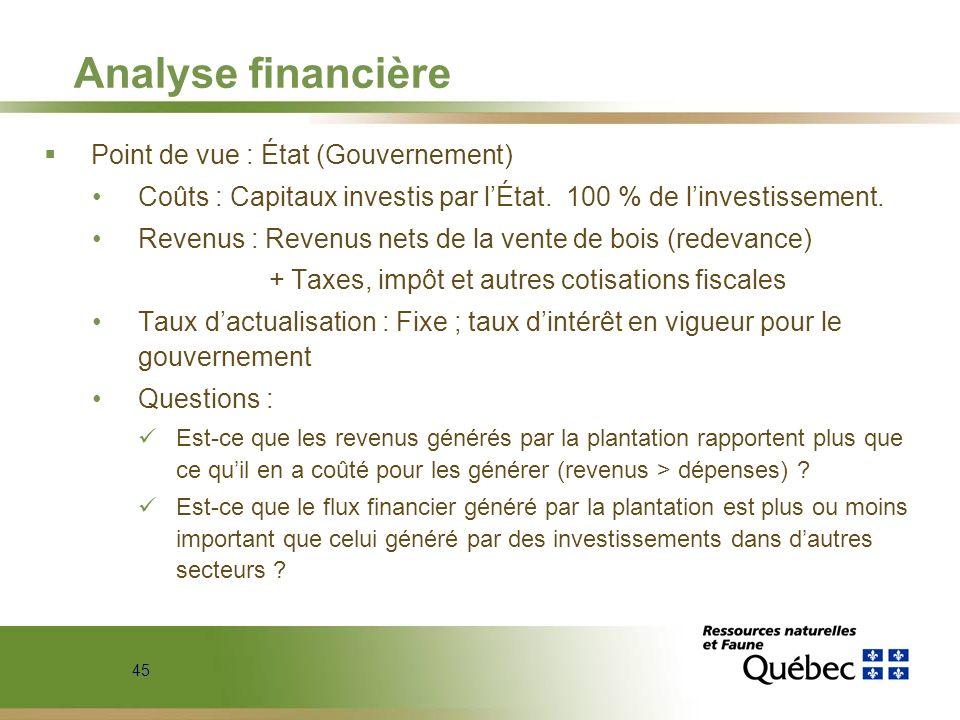 Analyse financière Point de vue : État (Gouvernement)