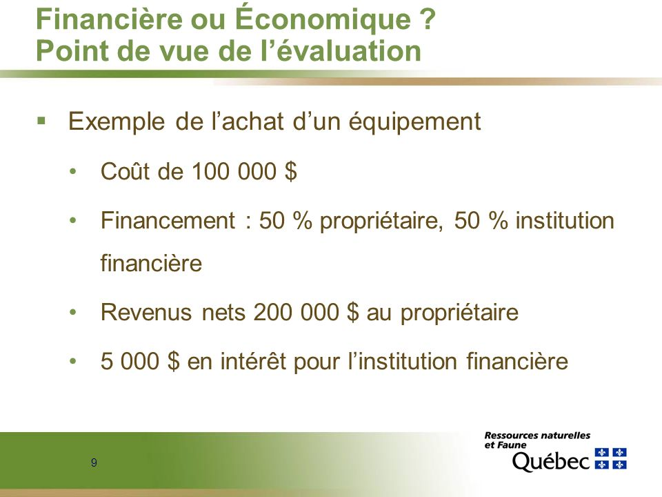 Financière ou Économique Point de vue de l'évaluation