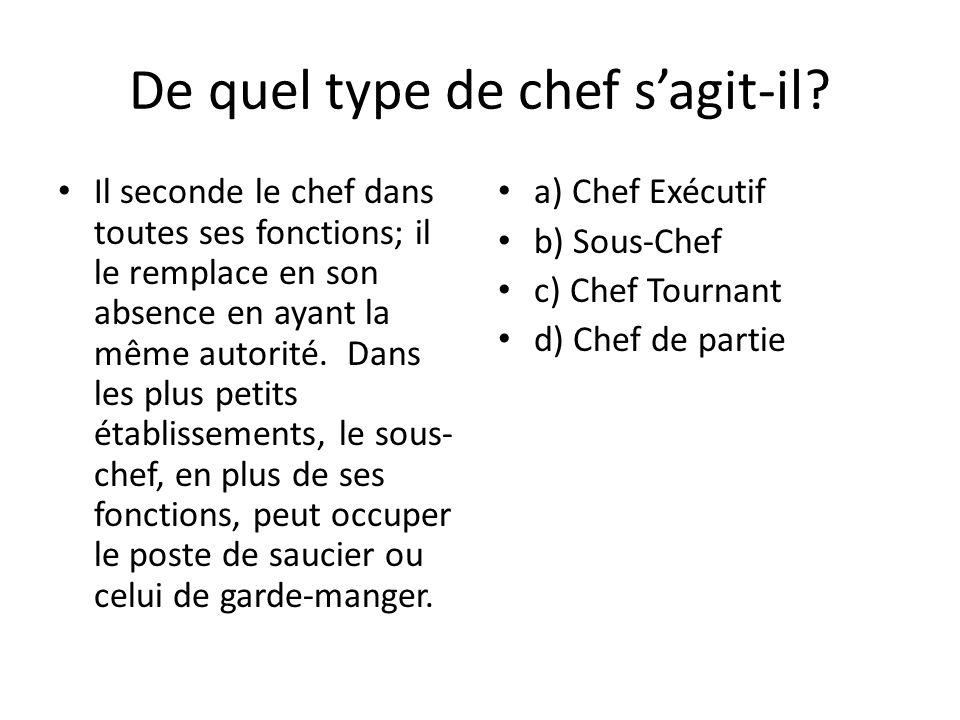 Volution de la cuisine ppt video online t l charger - Poste de chef de cuisine ...