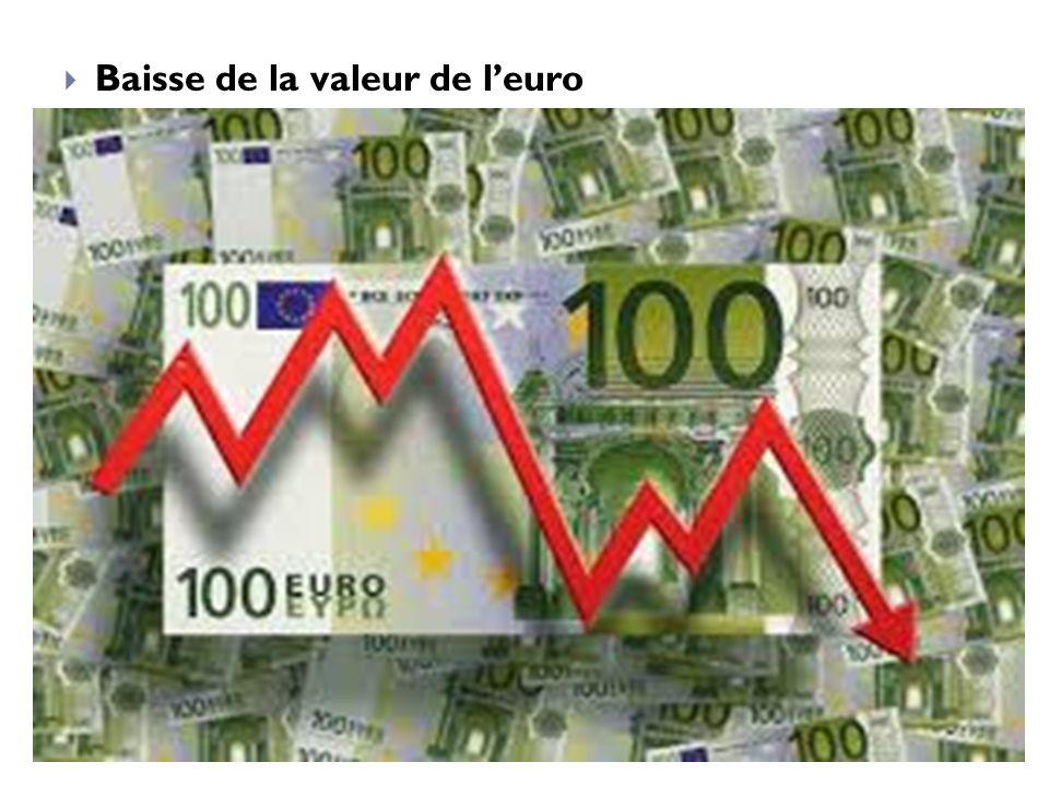 Baisse de la valeur de l'euro