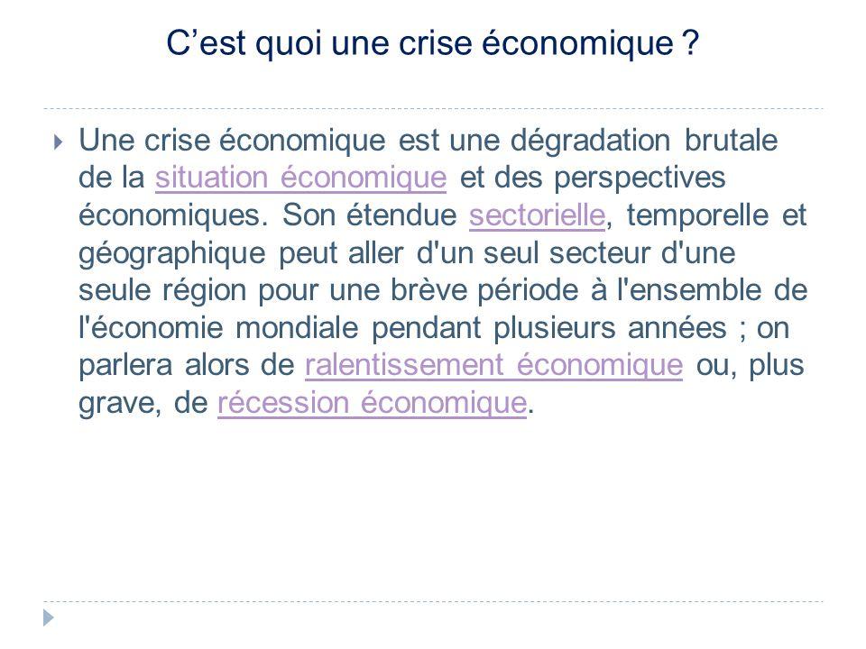 C'est quoi une crise économique