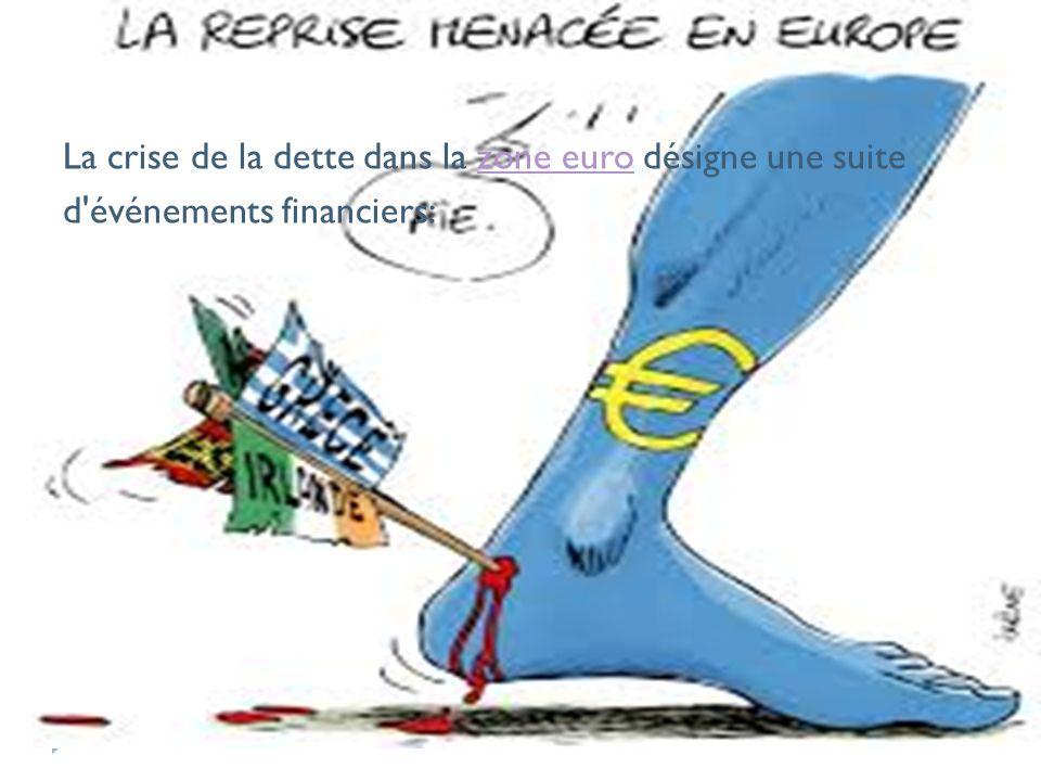 La crise de la dette dans la zone euro désigne une suite d événements financiers: