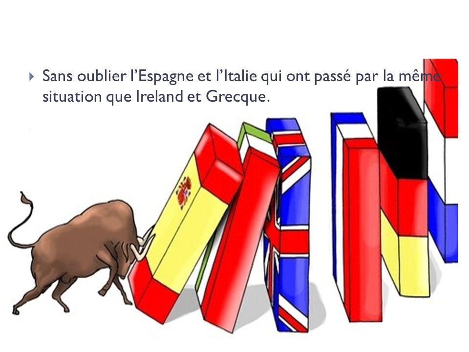 Sans oublier l'Espagne et l'Italie qui ont passé par la même situation que Ireland et Grecque.