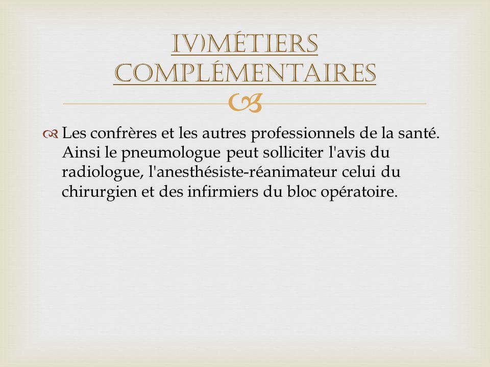 IV)Métiers complémentaires