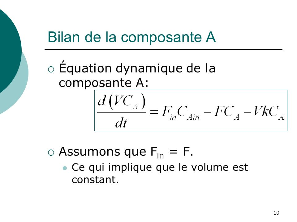 Bilan de la composante A