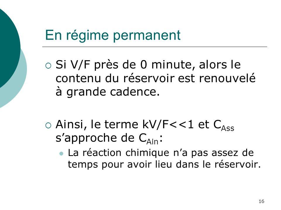 En régime permanent Si V/F près de 0 minute, alors le contenu du réservoir est renouvelé à grande cadence.