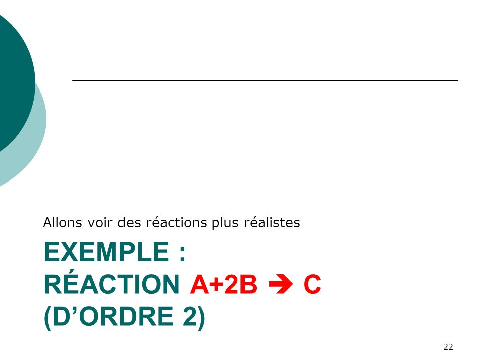 Exemple : réaction A+2B  C (d'ordre 2)
