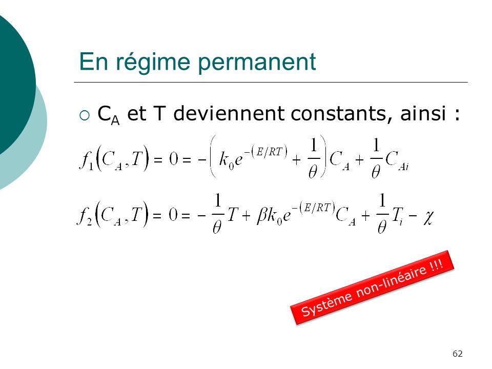 En régime permanent CA et T deviennent constants, ainsi :