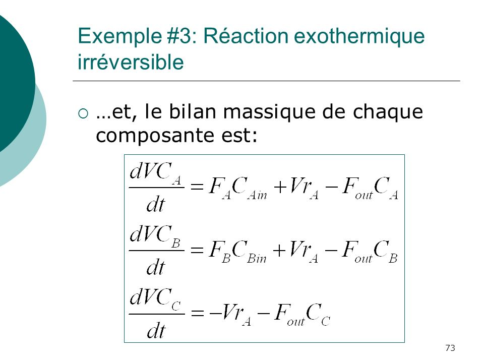 Exemple #3: Réaction exothermique irréversible