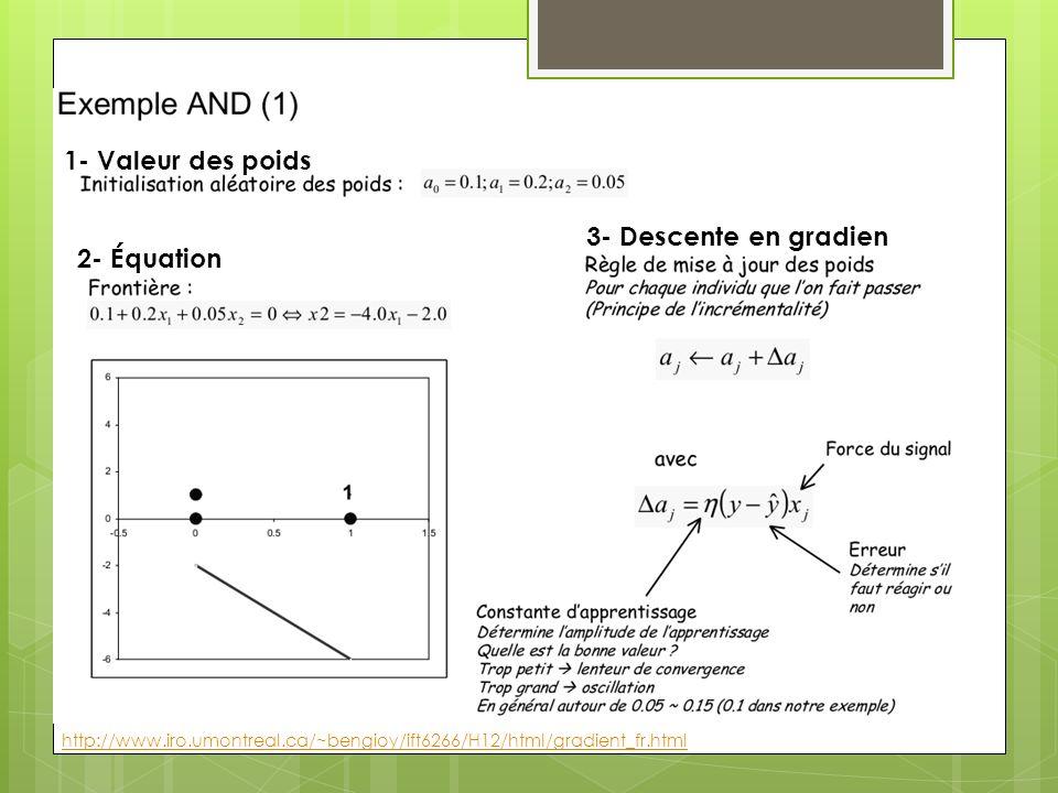 1- Valeur des poids 3- Descente en gradien 2- Équation