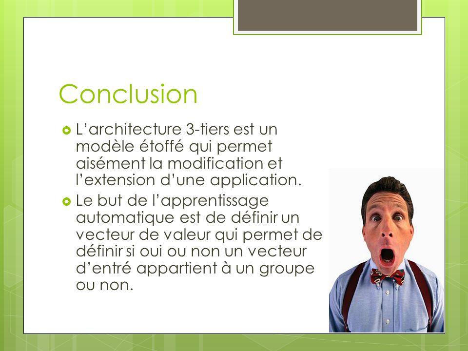 Conclusion L'architecture 3-tiers est un modèle étoffé qui permet aisément la modification et l'extension d'une application.