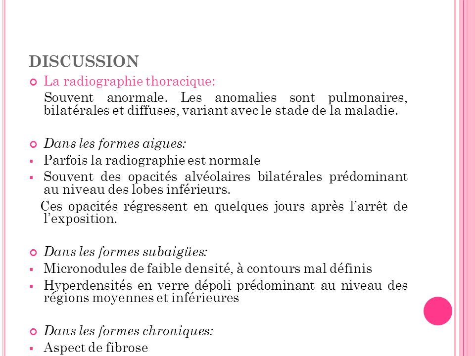 discussion La radiographie thoracique: