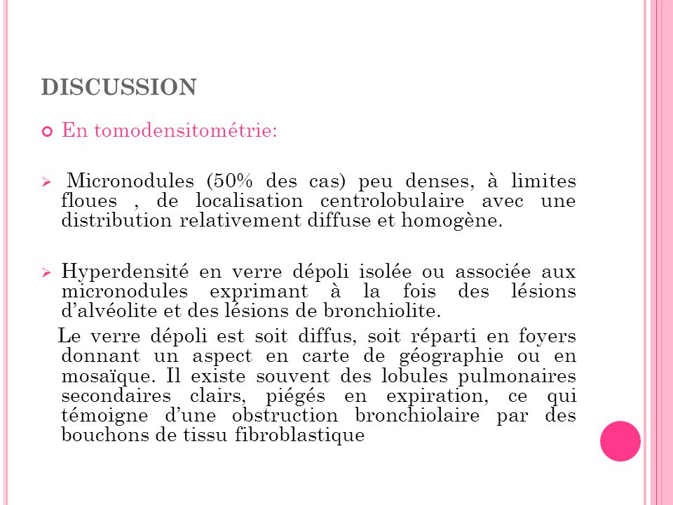 discussion En tomodensitométrie: