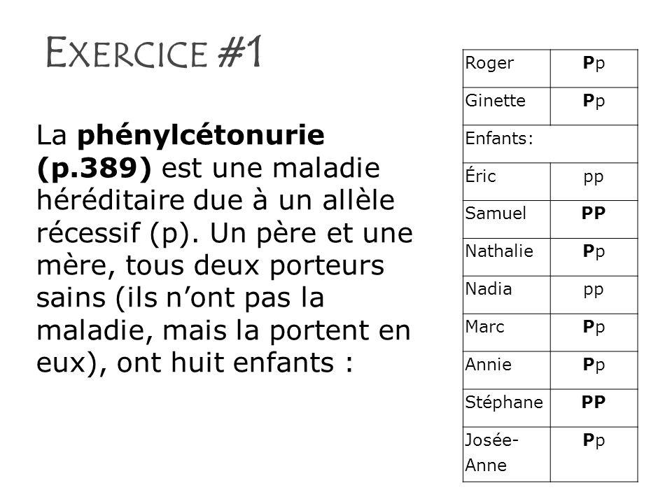 Exercice #1 Roger. Pp. Ginette. Enfants: Éric. pp. Samuel. PP. Nathalie. Nadia. Marc. Annie.