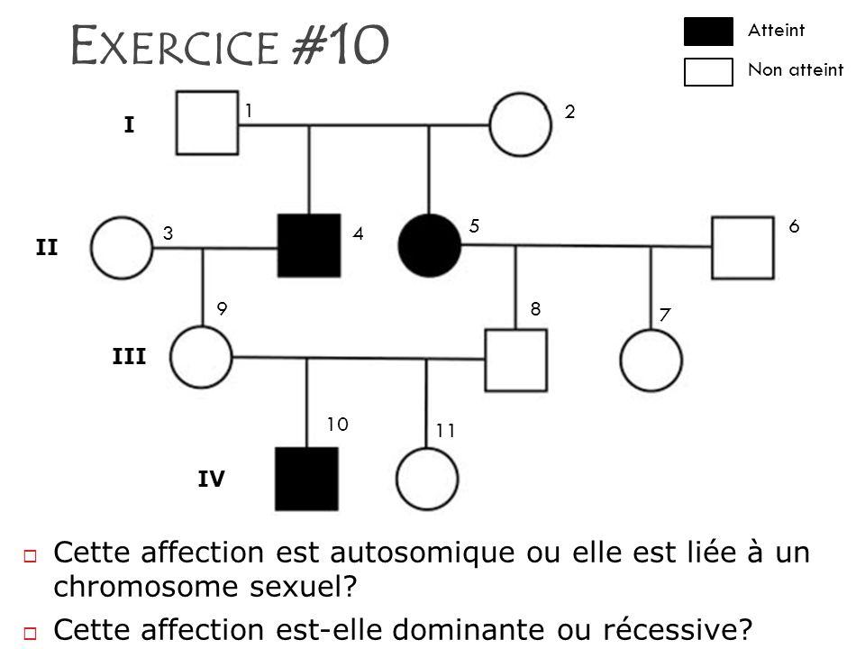 Exercice #10 I. II. III. IV. 1. 2. 3. 4. 5. 6. 7. 8. 9. 10. 11. Atteint. Non atteint.