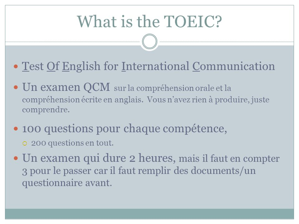 What is the TOEIC Test Of English for International Communication