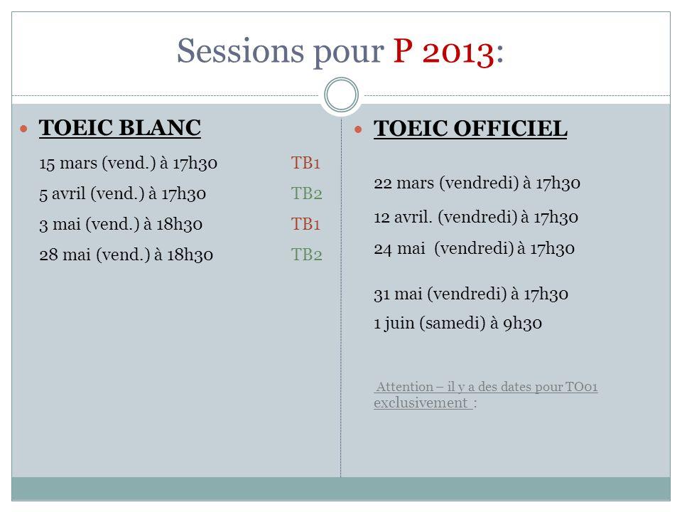 Sessions pour P 2013: