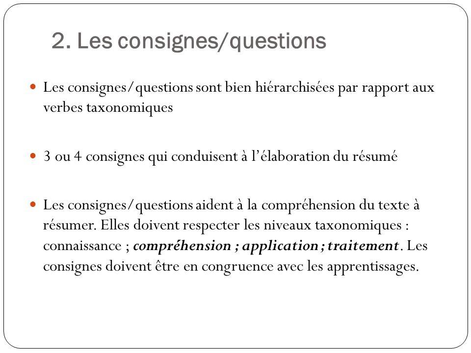 2. Les consignes/questions