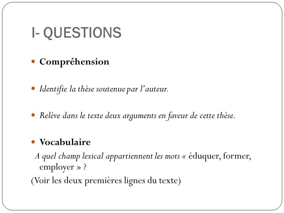 I- QUESTIONS Compréhension Identifie la thèse soutenue par l'auteur.