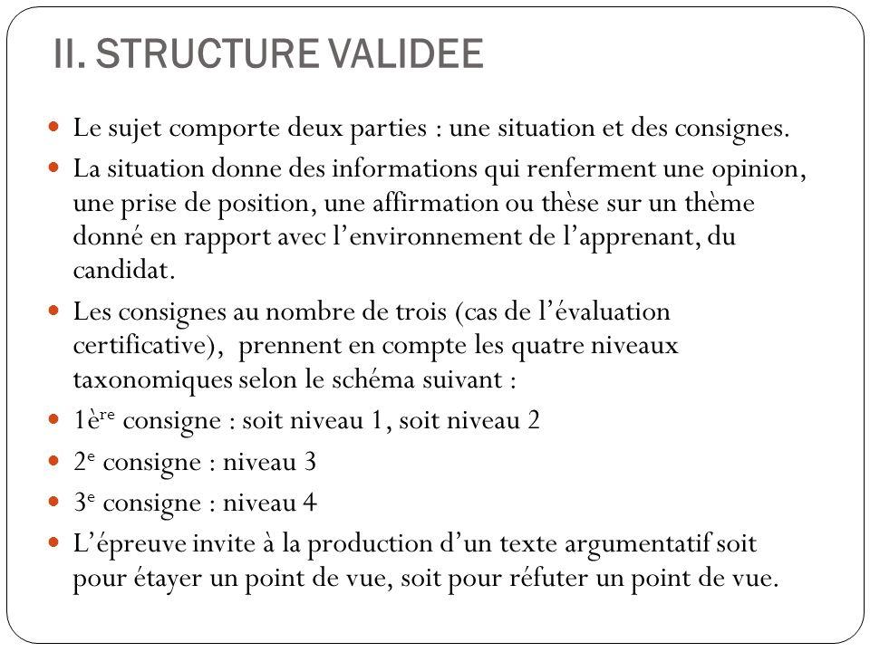 II. STRUCTURE VALIDEE Le sujet comporte deux parties : une situation et des consignes.