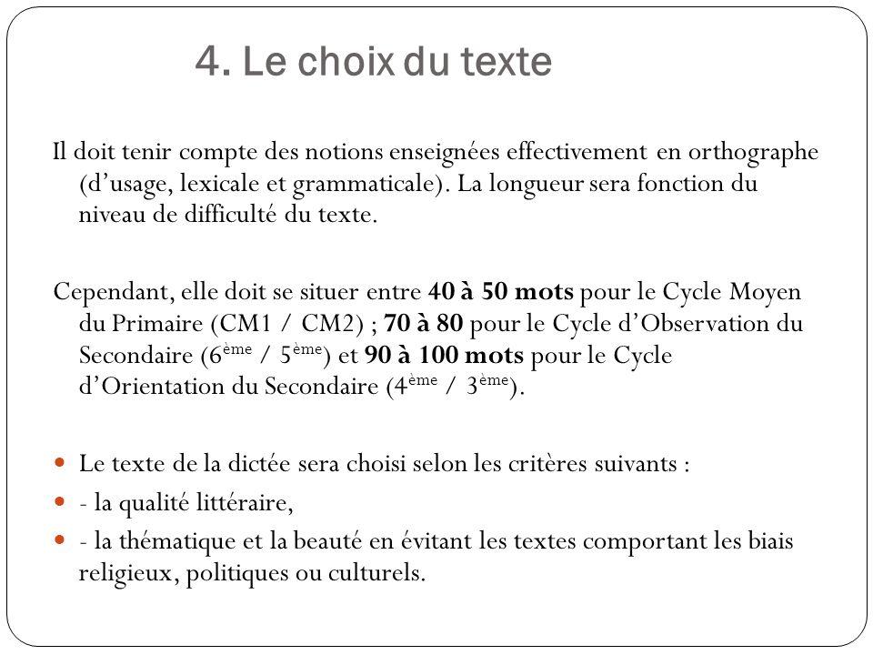 4. Le choix du texte