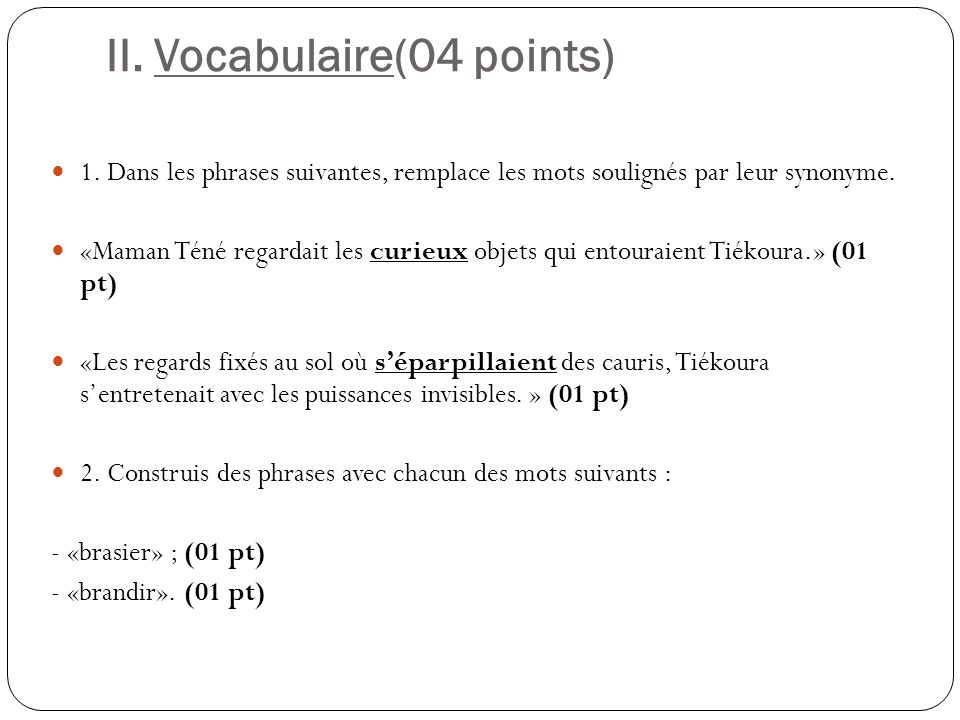 II. Vocabulaire(04 points)