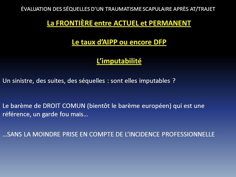 La FRONTIÈRE entre ACTUEL et PERMANENT Le taux d'AIPP ou encore DFP