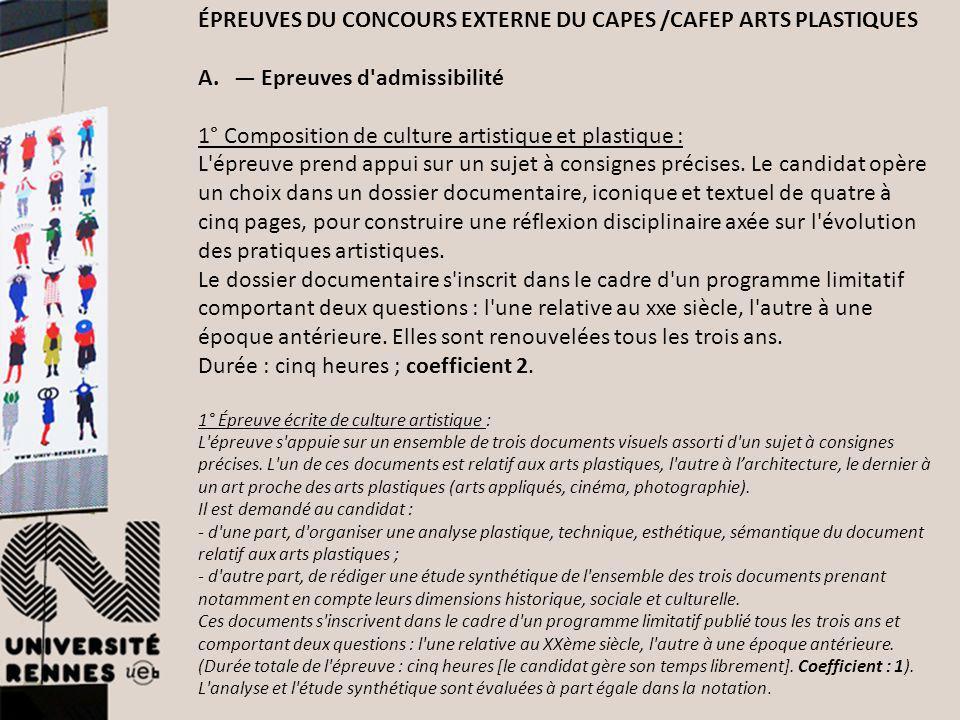 ÉPREUVES DU CONCOURS EXTERNE DU CAPES /CAFEP ARTS PLASTIQUES