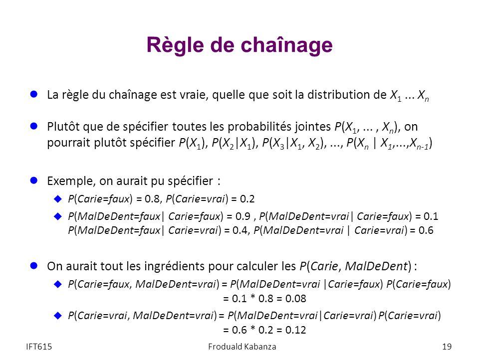Règle de chaînage La règle du chaînage est vraie, quelle que soit la distribution de X1 ... Xn.