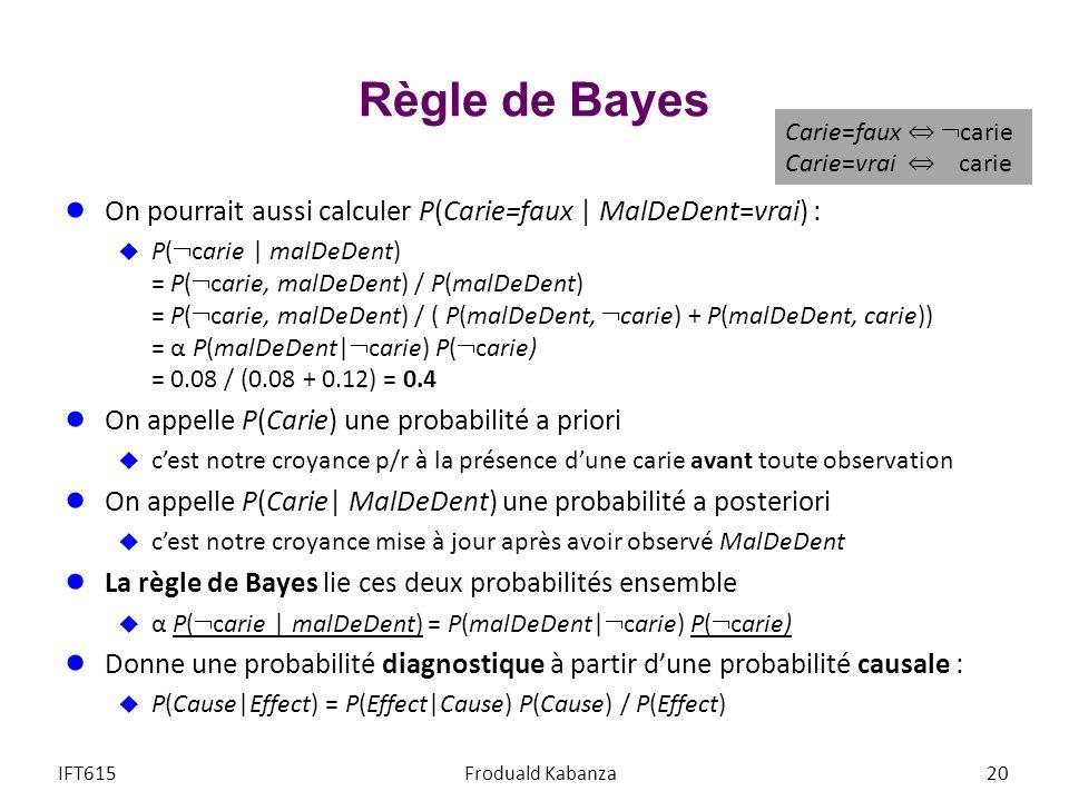 Règle de Bayes Carie=faux ⇔ carie Carie=vrai ⇔ carie. On pourrait aussi calculer P(Carie=faux | MalDeDent=vrai) :