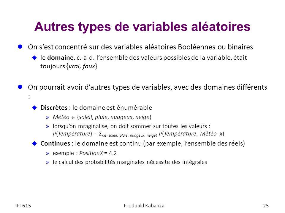 Autres types de variables aléatoires