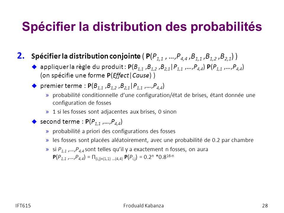 Spécifier la distribution des probabilités