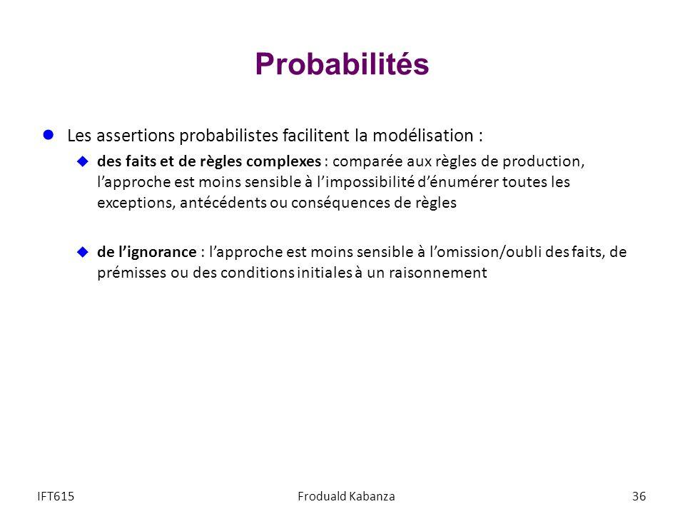 Probabilités Les assertions probabilistes facilitent la modélisation :