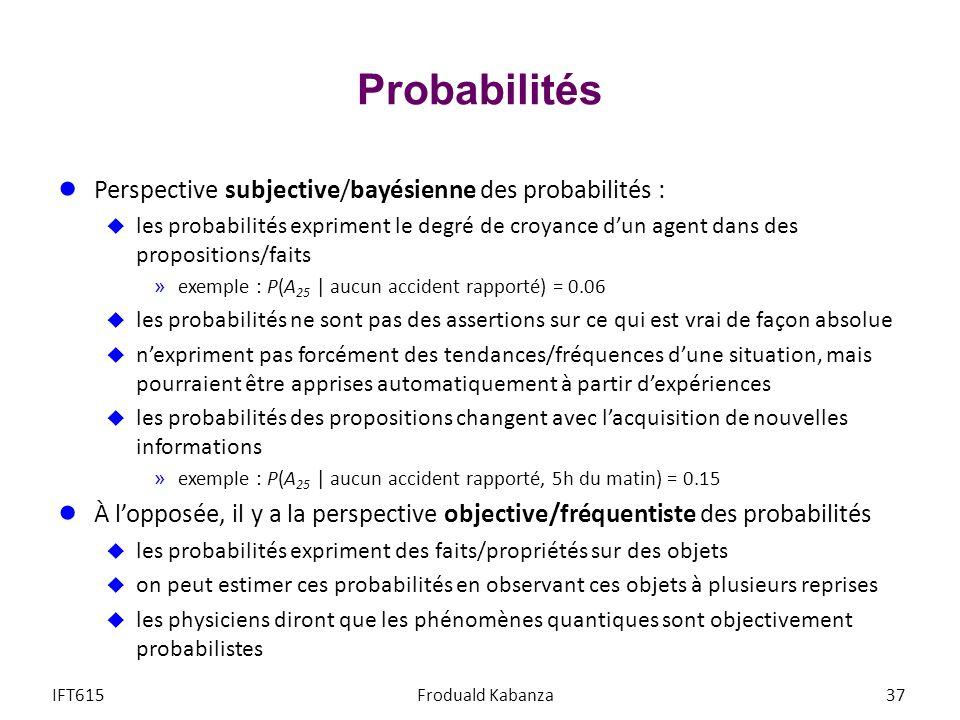 Probabilités Perspective subjective/bayésienne des probabilités :