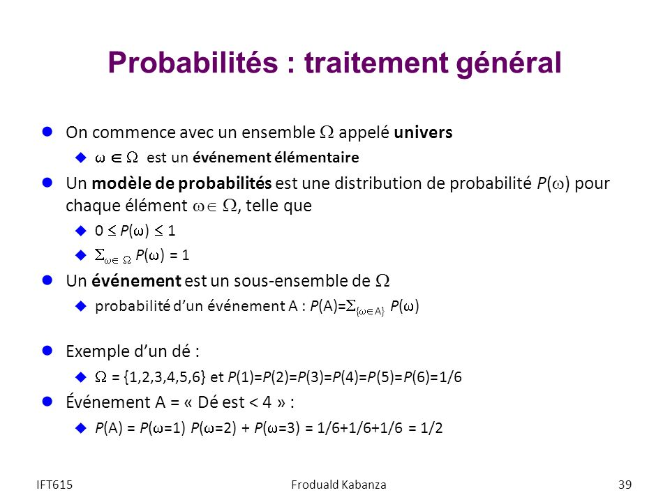 Probabilités : traitement général