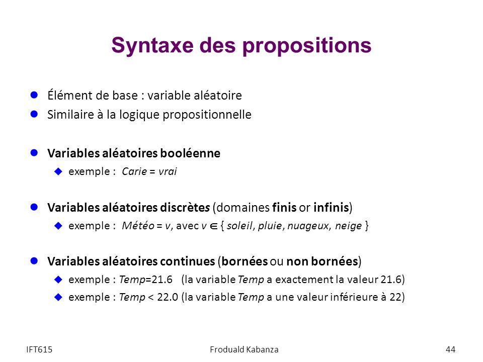 Syntaxe des propositions