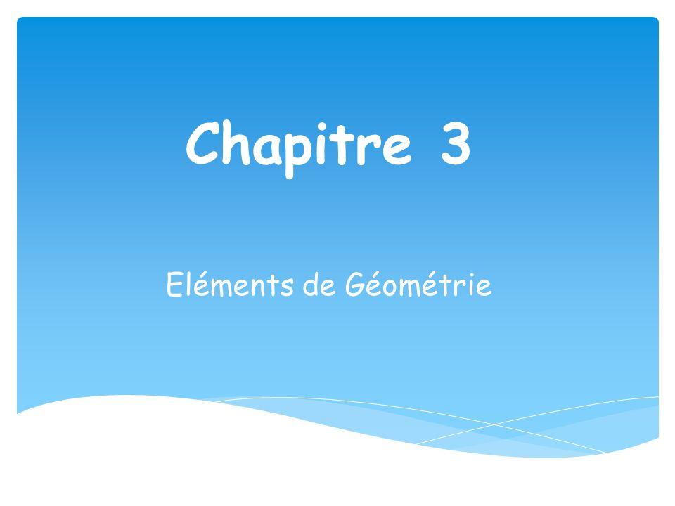 Chapitre 3 Eléments de Géométrie