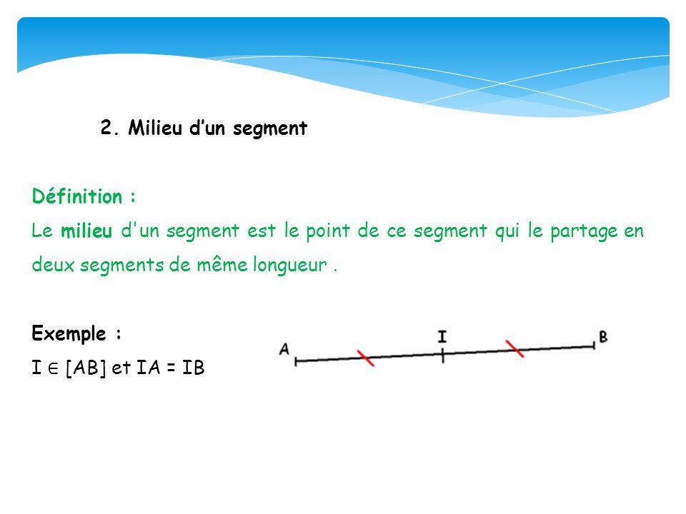2. Milieu d'un segment Définition : Le milieu d un segment est le point de ce segment qui le partage en deux segments de même longueur .