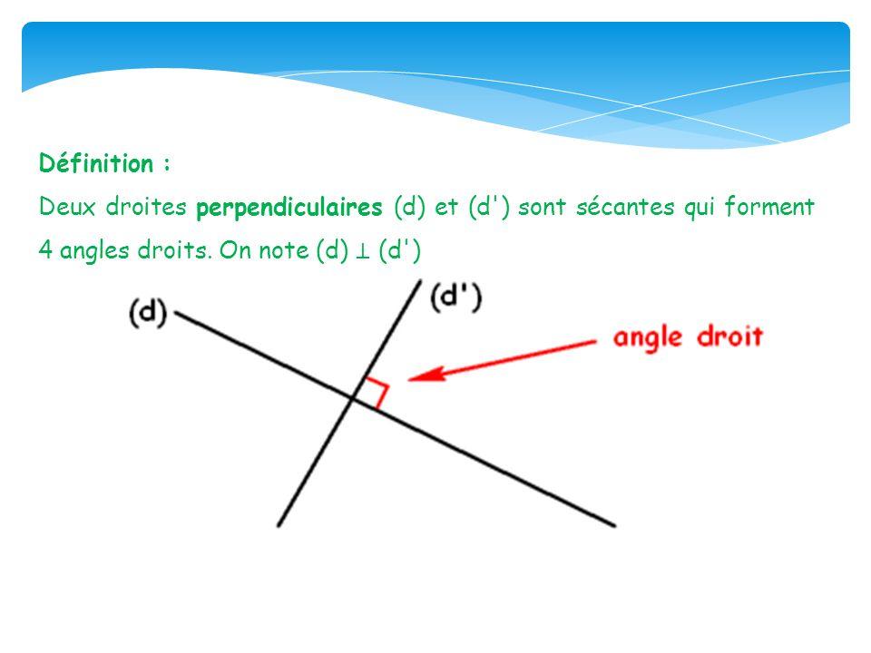 Définition : Deux droites perpendiculaires (d) et (d ) sont sécantes qui forment 4 angles droits.